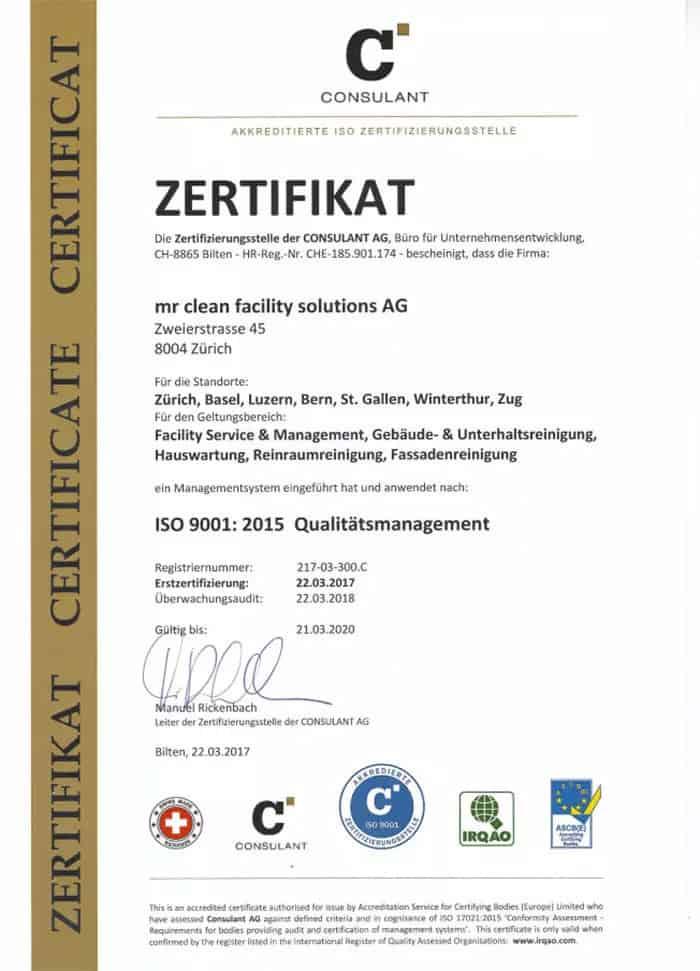 ISO 9001 Reinigungsunternehmen Reinigungsfirmen Schweiz