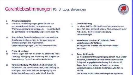 Garantie für Umzugsreinigung Zürich